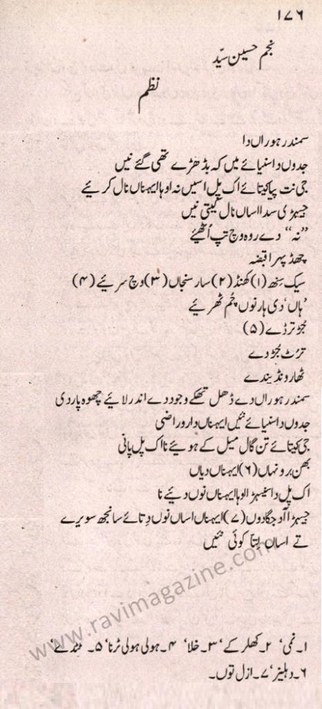 Nazm - Punjabi Poem by Najm Hosain Syed