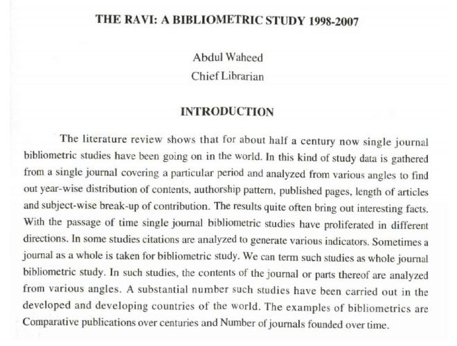The Ravi [GCU Lahore]  - A Bibliometric Study 1998 - 2007