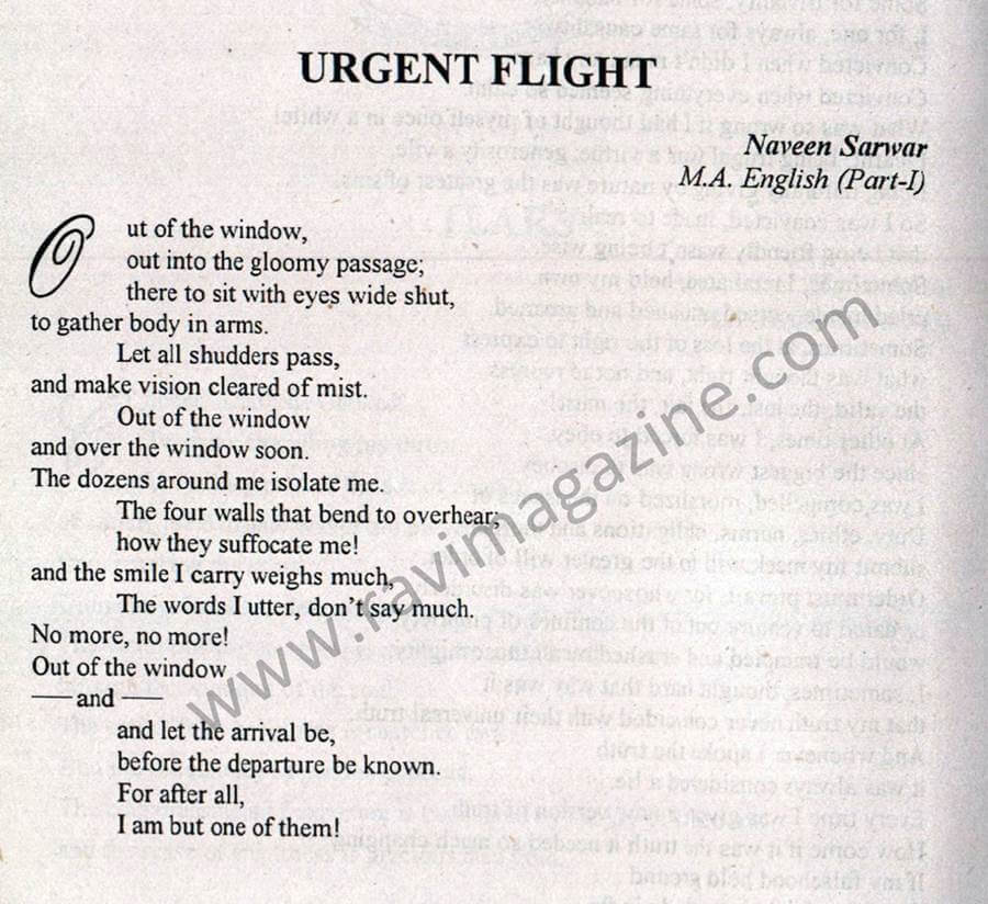 Urgent Flight - English Poem