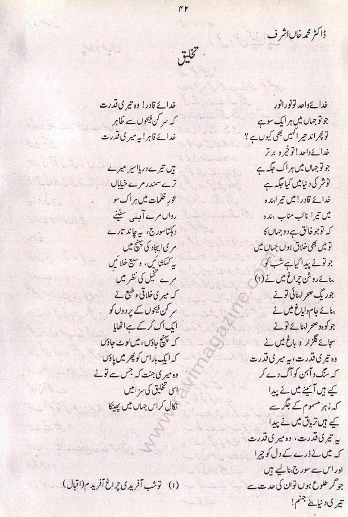 Takhleeq - Urdu Poem Dr Muhammad Khan