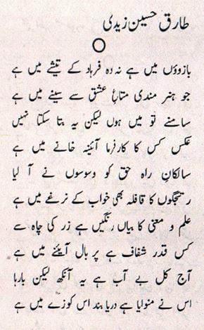 Ghazal by Tariq Zaidi