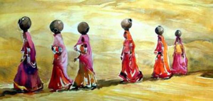 women fetching water