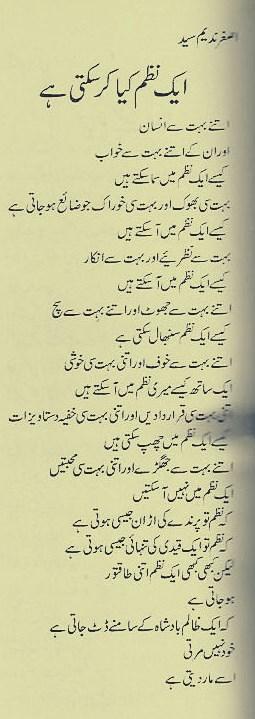 Aik Nazam Kya Kar Sakti Hai - Poem By Asghar Nadeem Syed